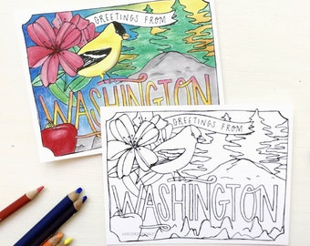 Coloring Postcard, WASHINGTON handdrawn postcard