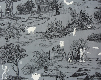 Graveyard Fabric,  Halloween Fabric, Glow in the Dark, Haunted Houses, Tombstones and Black Cats, Black, Grey, and White, By the Yard