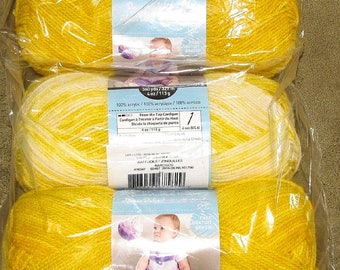 Two Balls Loops Threads Snuggly Wuggly Yarn 100% Acrylic, Lot 161760 Color Daffodil Jonquil Narcissus Yellow White, 360 Yd each Skein