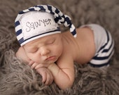 WIDE NAVY stripe: Name hat, personalized hat, KNOT hat, birth announcement, photo prop, baby hat, knots, birth announcement, hospital hat