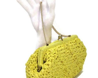 50s Raffia Purse, Yellow Clutch, Yellow Raffia Clutch, Yellow Spring Purse, Small Raffia Handbag, 1950s Spring Purse, Yellow Summer Bag,