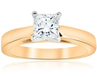 princess cut solitaire yellow gold vintage 1ct Princess Cut Diamond Solitaire Engagement Ring Cathedral
