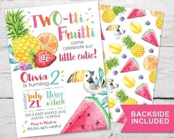 Twotti Fruitti Birthday Invitation, Twotti Frutti Birthday, Tutti Frutti Party, Tutti Frutti Invitation,  Tutti Fruity Party,  PRINTABLE