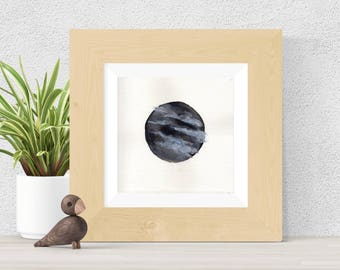 Original Watercolor Grey Planet Clouds Painting Moon Star Galaxy Art OOAK Limited Edition