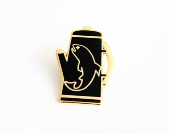 "There was a Fish in the Percolator Lapel Pin Black Gold Variant // 1.25"" hard enamel, Twin Peaks inspired"