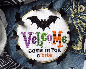 NEW! PDF Velcome cross stitch pattern ONLY by Lucky Star Stitches at thecottageneedle.com October vampire bat scary spooky