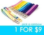 Choisissez un poignet sangle - votre choix - arc en ciel bracelet bracelet - bracelet cordon - portefeuille - coton poignet longe Kaychain - prêt à l'expédition