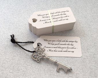 "Bulk Skeleton Key BOTTLE OPENERS + ""Poem"" Thank-You Tags – Wedding Favors Set - Ships from United States - Antique Silver"
