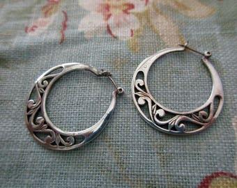 vintage sterling silver earrings - hoops, pierced