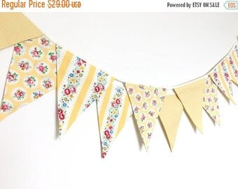 ON SALE Spring Time Bunting, Fabric Banners, Wedding Bunting, Floral, Yellow Shade - 3 yards