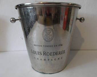 Vintage French Champagne and Wine Ice Container Silver Plated Metal Louis Roederer Champagne Bucket