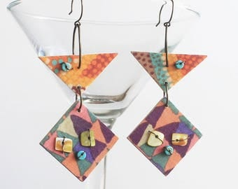 Primitive tribal earrings, fabric earrings, wood earrings, rustic tribal, assemblage earrings, artisan earrings, boho tribal, textile ear