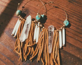 BCE-01, brass hoop crystal earrings with turquoise, bone beads and leather fringes,boho,hippie