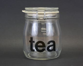 Vintage Tea' Triomphe French Typography Glass Canister (E8486)