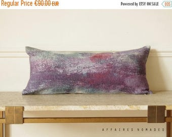 ON SALE Abstract art lilac body pillow. Reflections on the Lake / Linen decorative patina prints lumbar pillowcase...  /  FRAGMENTS