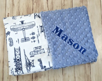 Monogrammed Baby Blanket, Minky Airplane Baby Blanket, Navy and Denim Blue, Personalized boy gift with name, Vintage Plane Blueprint Newborn
