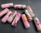 10 Long Pink Floral Chintz Glazed Tube Clay Beads
