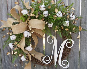 Reseeved for Donna- pair of Cotton Wreaths - Cotton Burlap Wreath - Cotton Decor - Spring Wreath - Year round Wreath -Welcome Wreath