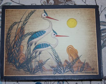 1960's vintage Mexican Folk Art Bird Paintings on Masonite by Arturo Alcala Two Cranes Folk Art Painting by Arturo Alcala