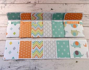 Mini Note Cards, Mini Note Card Set, 3x3 Note Cards, Mini Envelopes, Set of 6 Mini Note Cards with Envelopes, Baby Elephants
