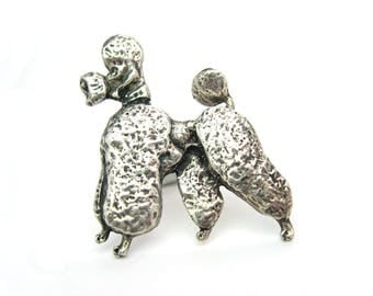 Dog Brooch.  French Poodle Figural Jewelry. Signed Cini, Sterling Silver. Textured, 3D. Vintage 1950s Mid Century Animal