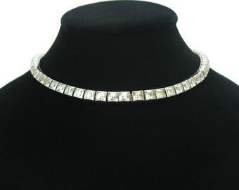 Geometric Art Deco Necklace. Dorsons Rhinestone Choker. Rhodium Sterling Silver. Square Cut Channel Set Crystals.  1940s Vintage Jewelry