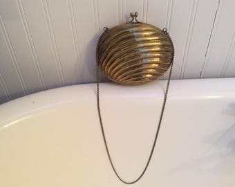 Vintage Brass Clam Shell Hand Bag