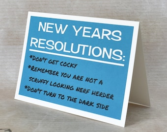 Handmade Greeting Card - Cut out Lettering and Printed - New Years Resolutions - Blank inside - Star Wars Inspired Greeting Card