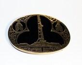 Vintage Black and Gold Oil Field Belt Buckle, Award Design Medals Belt Buckle