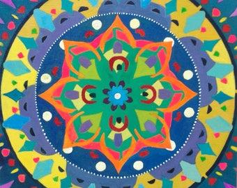 Healing Mandala. Prayers for Venezuela. Acrylic on Wood 8 x 8 x 1.5 inches