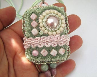 Bead embroidered necklace for women, Long beaded necklace, Seed bead jewelry, Pastel pendant, Pink and green, Gift for wife