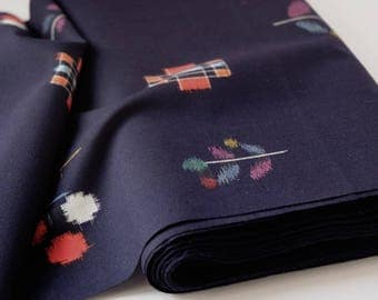 Indigo Blue IKAT Wool Kimono Fabric unused bolt by the yard Floral and Geometric IKAT Kasuri print 100% Wool OFF the bolt