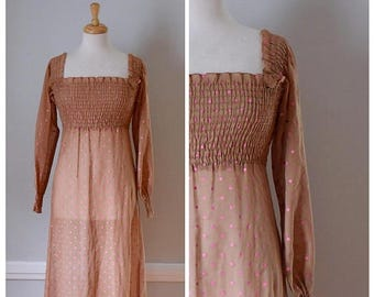 ON SALE Vintage Sheer Boho Smocked Dress From The 1970s