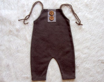 NEW-Sitters Size Brown Romper,Sitters Romper,Photography Prop Overalls,6-9 Months Romper,Toddlers Photo Props,Sitters Overalls,Sitters Prop