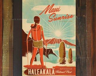 Haleakala Crater - 12x18 Retro Hawaii Travel Print