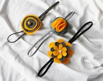 Set of 3 Gray and Yellow Headbands - Baby Headband - Headband for Babies / Toddlers - Felt Flower Hairband  - 1-3 yrs - ready to ship