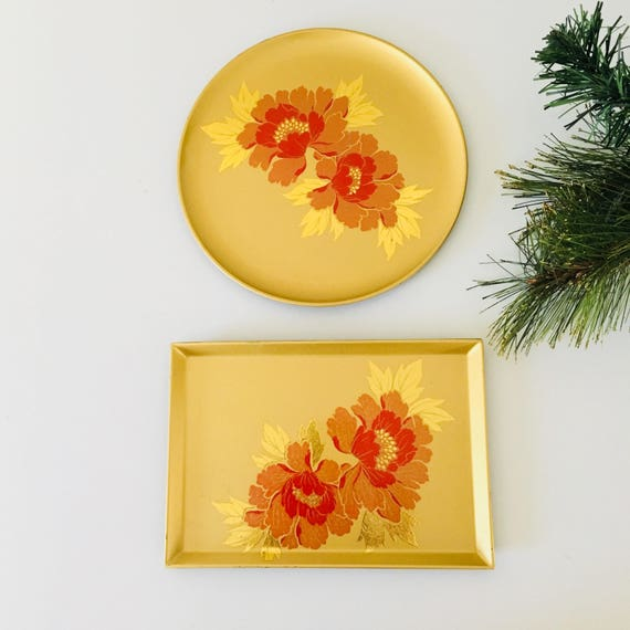 Vintage Gold Lacquer Floral Trays Set of (2) Otagiri Orange Flowers Metallic Gold Hand Crafted Round Rectangle Tip Trays Sushi Plates