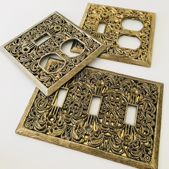 Vintage Filigree Gold Outlet Covers Set of (3) Ornate Switch Plate Decorative Hollywood Regency Outlet Covers