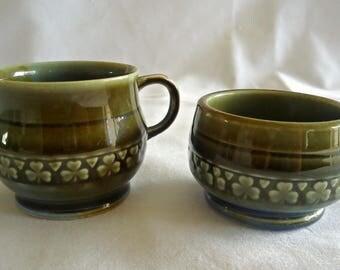 Vintage Wade Irish Porcelain Cream & Sugar Shamrock