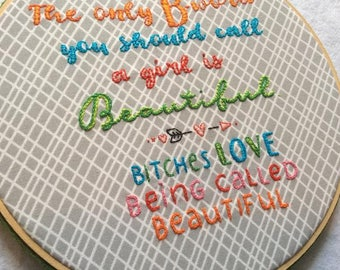 """Framed """"B-Word"""" Embroidery"""
