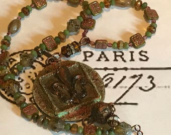 Genuine Jade Gemstone FLEUR DE LIS Pendant & Czech glass necklace.Moss Green and Rust Earthtones.Baroque Parisian Jewelry.Outlander Necklace