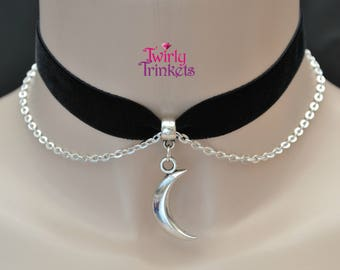 "BLACK Velvet Ribbon 16mm 5/8"" Chain Choker With Solid Crescent MOON Charm - kk.. handmade to size with 30 colour options :)"
