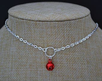 """RED JINGLE BELL O Ring Charm Necklace, Silver Plated Cable Chain, Handmade 16""""-20"""""""