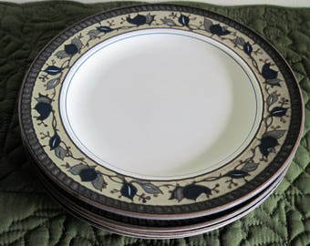 4 Vintage Mikasa Intaglio Arabella Pattern - Blue Green Brown Leaves - Salad Dessert Plates