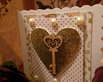 Golden key Valentine card