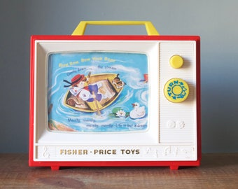 Vintage Fisher Price Two Tone TV | Plays London Bridge and Row Row Row Your Boat | Two Picture Stories