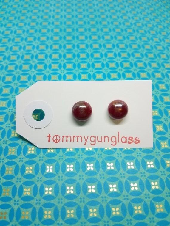 Deep Red Iridescent Glass Stud Earrings