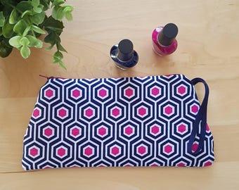 Etui en tissu / Pochette / Trousse / Rangement / Cosmétique / Zip / Sac / Marine et rose / Pensil case / Make-up case