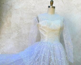 1/2 Off SALE Vintage 1950 Ivory Tiered Wedding Dress, Schiffli Lace Gown, Petite Size Vintage Bride