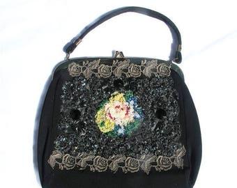 1/2 Off SALE Vintage 50s Beaded Handbag, Embellished Black Purse